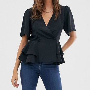 ASOS DESIGN Tux Top with angel sleeves
